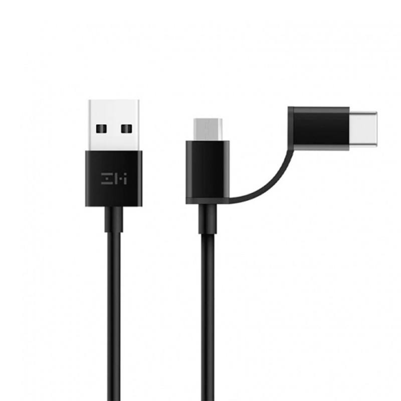Кабель 2 in 1 USB Type-C/Micro Xiaomi ZMI 30 см (AL511) Черный